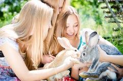 俏丽的女朋友用户外两只兔子 免版税库存图片