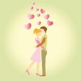 俏丽的妇女和人爱上桃红色心形 免版税库存图片