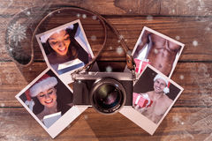 俏丽的浅黑肤色的男人的综合图象圣诞老人成套装备开头礼物的 图库摄影