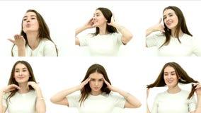 俏丽的深色的妇女情感地图 股票录像