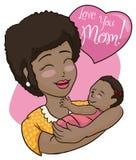 俏丽的深色的庆祝母亲节,传染媒介例证的妈妈和婴孩 图库摄影