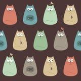 俏丽的猫五颜六色的纺织品无缝的样式 库存照片
