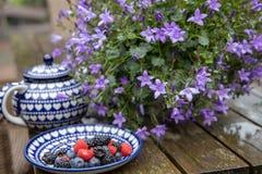 俏丽的盘用莓果和在一张木桌上的一花束 库存照片