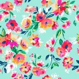 俏丽的被绘的花|无缝的背景 库存图片