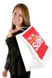 俏丽的购物妇女 免版税库存照片