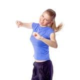 俏丽的运动员健身妇女跳舞有氧运动 免版税库存图片