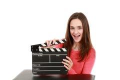 俏丽的青春期前的深色的女孩演员 库存图片