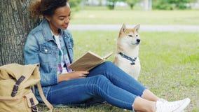 俏丽的非裔美国人的学生阅读书画象在公园坐与附近她服从的狗的草 现代 影视素材