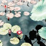 俏丽的水Lillies在池塘 库存照片