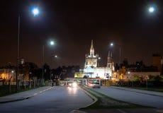 保佑的圣礼Church Templo del Santisimo萨加门多在晚上-科多巴,阿根廷 免版税图库摄影