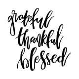 保佑的感恩感激 激动人心的手写的文本行情 向量例证