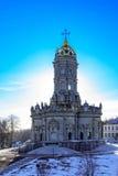 保佑的维尔京的教会标志在Dubrovitsy 免版税库存图片