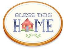 保佑这个家庭绣花框架 免版税库存照片