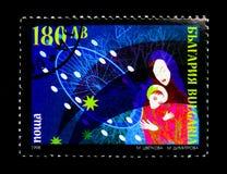 保加利亚与圣诞节场面, serie的邮票,大约1998年 免版税库存照片