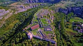 保加利亚中世纪堡垒从上面Cherven,保加利亚 库存图片
