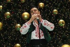 保加利亚吹风笛者 免版税库存图片