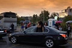 保加利亚正式舞会场面,普罗夫迪夫市 库存图片