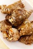 保加利亚烹调-葡萄叶包饭 免版税库存图片