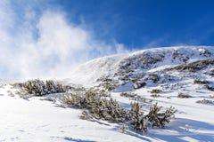 从保加利亚的美好的冬天山风景 Borovets 图库摄影