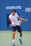 从保加利亚的职业网球球员格里戈尔・季米特洛夫为美国公开赛实践2014年 免版税库存图片