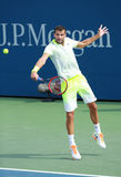 保加利亚的职业网球球员格里戈尔・季米特洛夫行动的在美国公开赛2016圆的三比赛期间 免版税库存图片