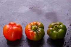 保加利亚胡椒,橙色和绿色,在黑背景 库存图片