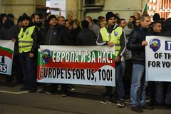 保加利亚警察的示范在要求的索非亚在薪金的15%增量,起草内政部的新的法律 免版税库存图片