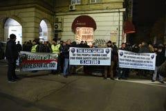 保加利亚警察的示范在要求的索非亚在薪金的15%增量,起草内政部的新的法律 图库摄影