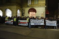 保加利亚警察的示范在要求的索非亚在薪金的15%增量,起草内政部的新的法律 免版税图库摄影