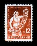 保加利亚邮票展示有烟草叶子的女工,大约1959年 免版税库存照片