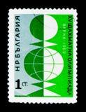 保加利亚邮票展示致力棋奥运会在瓦尔纳,大约1962年 库存图片