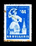 保加利亚邮票展示跳舞妇女, VI青年时期,莫斯科1957 festivak,大约1957年 免版税图库摄影