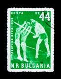 保加利亚邮票显示排球运动员,学生比赛- 1958年,大约1958年 免版税库存图片