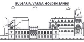 保加利亚,瓦尔纳,金黄沙子排行地平线传染媒介例证 保加利亚,瓦尔纳,金黄沙子线性都市风景与 皇族释放例证