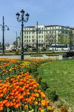 保加利亚- 2018年4月13日:狮子` s桥梁的花园在Vladaya河,索非亚 免版税库存图片