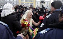 保加利亚FEMEN抗议 免版税库存图片