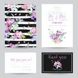 保存与春天山茱萸花的日期婚礼邀请模板 为庆祝设置的浪漫花卉贺卡 向量例证