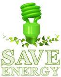 保存与电灯泡和植物的能量标志 库存例证