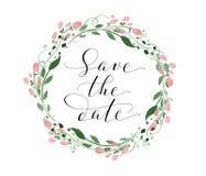 保存与水彩花卉花圈的日期卡片,婚姻邀请模板 手书面习惯书法 免版税图库摄影