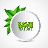保存与绿色叶子的自然贴纸 库存例证