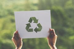 保存世界生态概念环境保护用拿着被删去的纸的手回收陈列 免版税库存图片