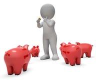 保存储款手段存钱罐和货币3d翻译 免版税图库摄影