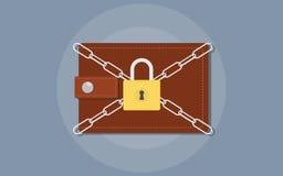 保存您的与钱包的金钱例证并且束缚被锁的挂锁 库存例证