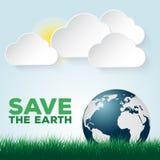 保存我们的地球蓝色和绿色海报模板 免版税库存照片