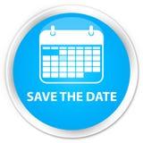 保存日期优质深蓝蓝色圆的按钮 免版税库存图片