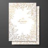 保存日期卡片婚礼邀请模板 与叶子花圈的设计模板  金贺卡的, postc卡片模板 皇族释放例证