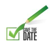 保存日期校验标志铅笔例证 免版税库存图片