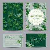 保存日期看板卡 热带棕榈叶子 背景高雅重点邀请浪漫符号温暖的婚礼 库存照片