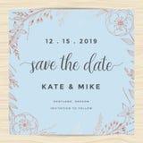 保存日期,婚姻邀请与铜颜色花花圈的卡片模板 葡萄酒设计 图库摄影