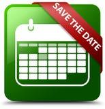 保存日期绿色正方形按钮 库存图片